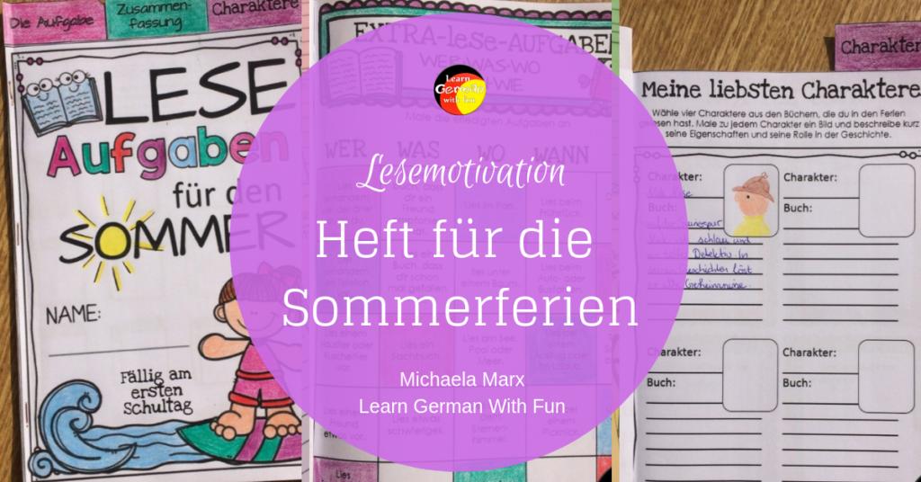 Lesemotivation Heft für die Sommerferien oder für die Leseecke