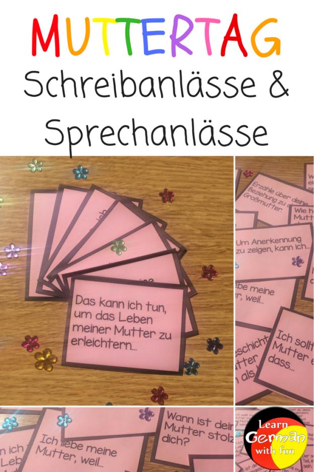 Schreibanlässe und Sprechanlässe für Muttertag in der Grundschule