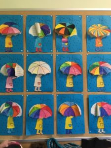 Bastelvorlage Grundschule Regenschirm