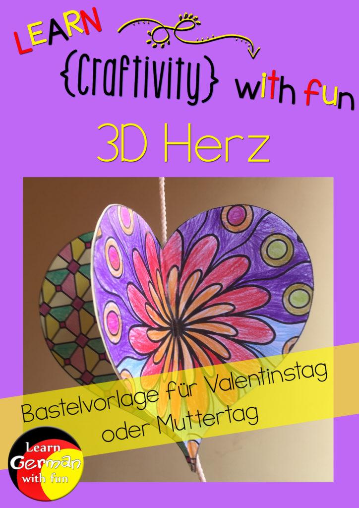 Basteln für Valentinstag- 3D-Herz