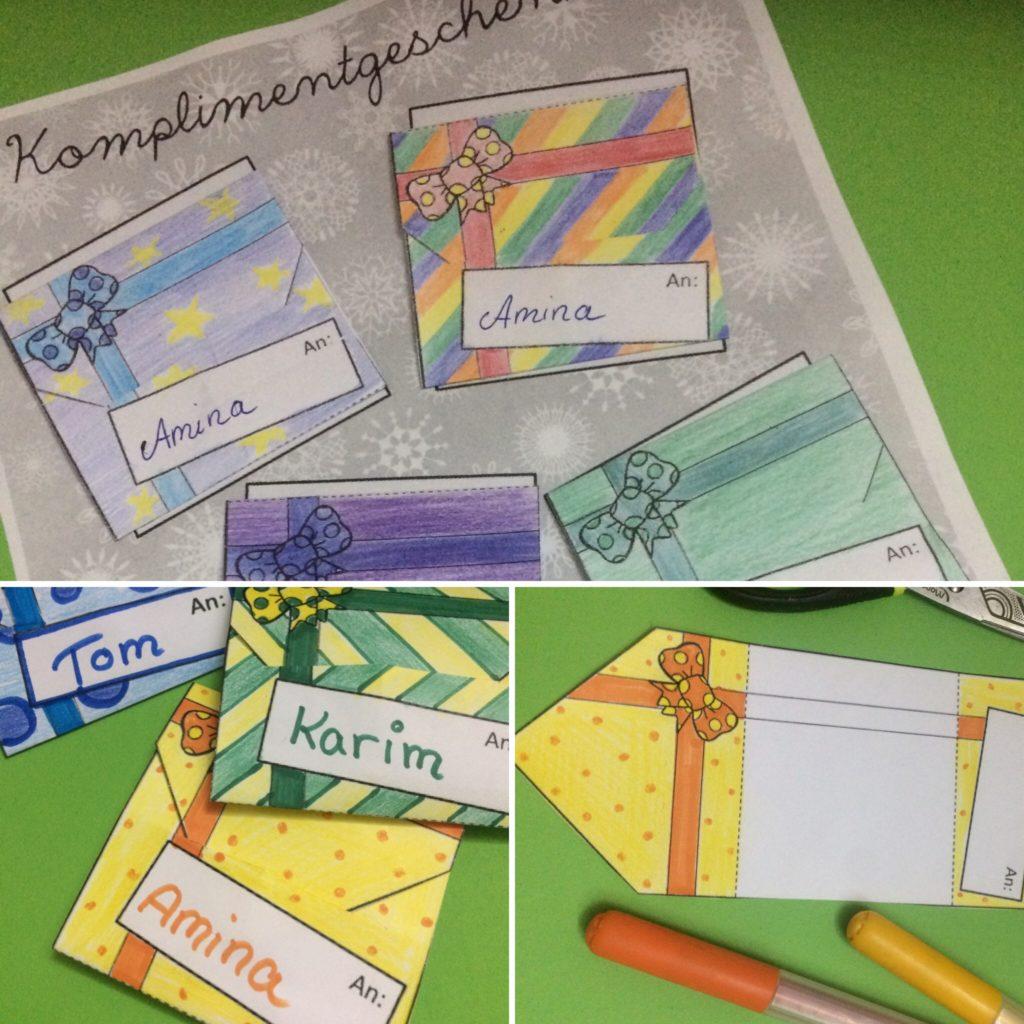 Bastelvorlage Grundschule Komplimente schenken