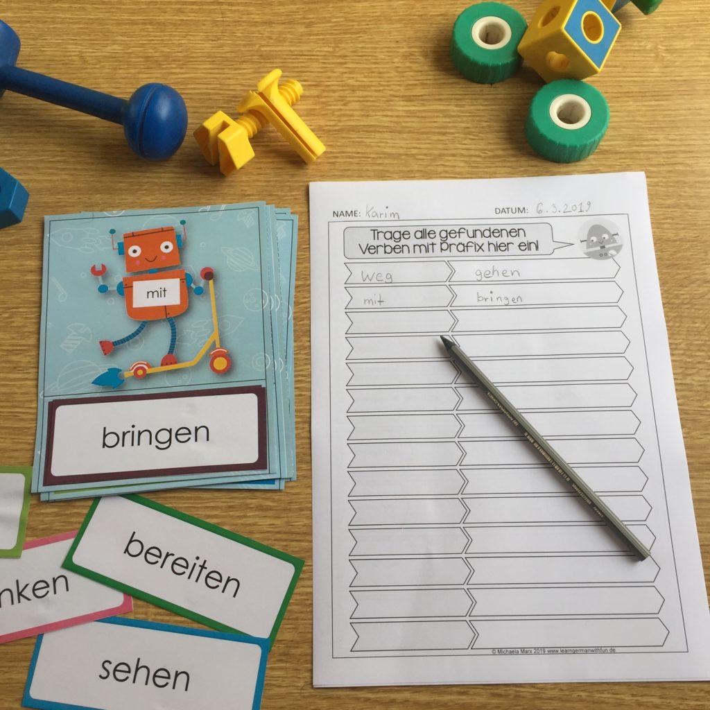 Trennbare Verben Übung für die Grundschule mit Arbeitsblatt