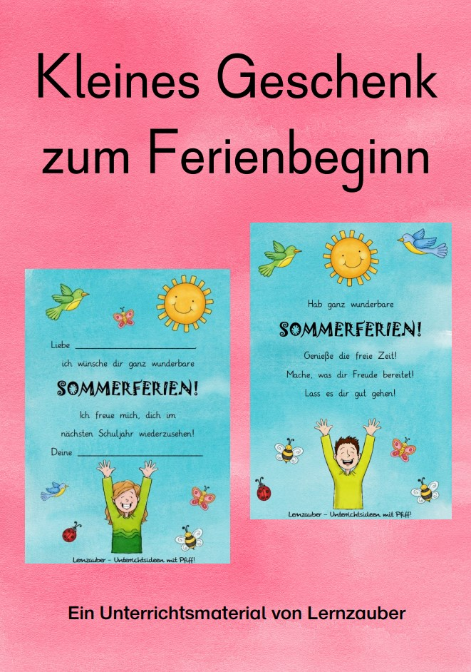 Kleines Geschenk zum Ferienbeginn Grundschule