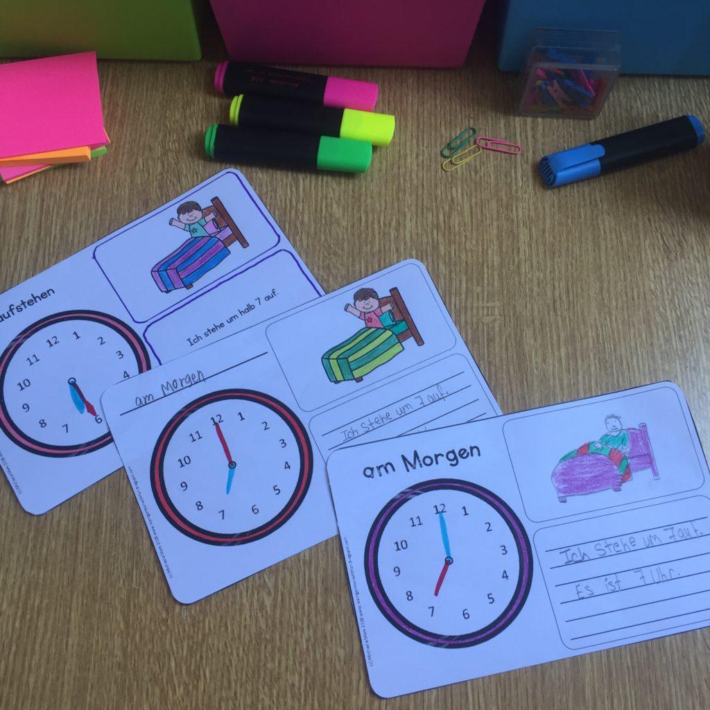 Tagesablauf und Uhrzeit in der Grundschule üben mit diesem Übungsheft. Dreifach differenziert für Grundschule, DaF und Förderschule