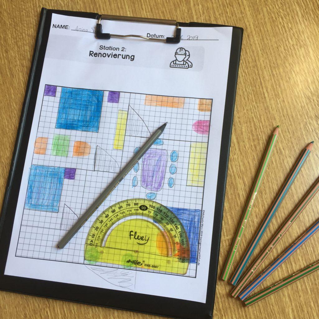 Hotel Projekt für Schüler Beispiel für Zimmer Grundriss Arbeitsblatt