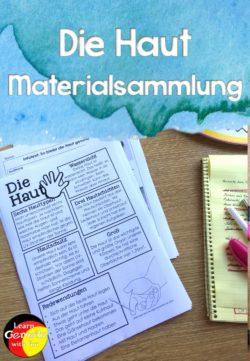 Unterrichtsmaterial Haut Materialsammung