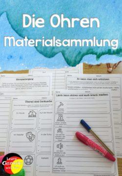 Materialsammlung Ohr und Hörsinn Arbeitsblätter Biologie Sachunterricht