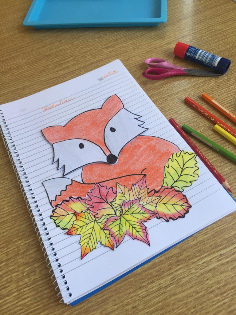 Herbst basteln Grundschule Fuchs